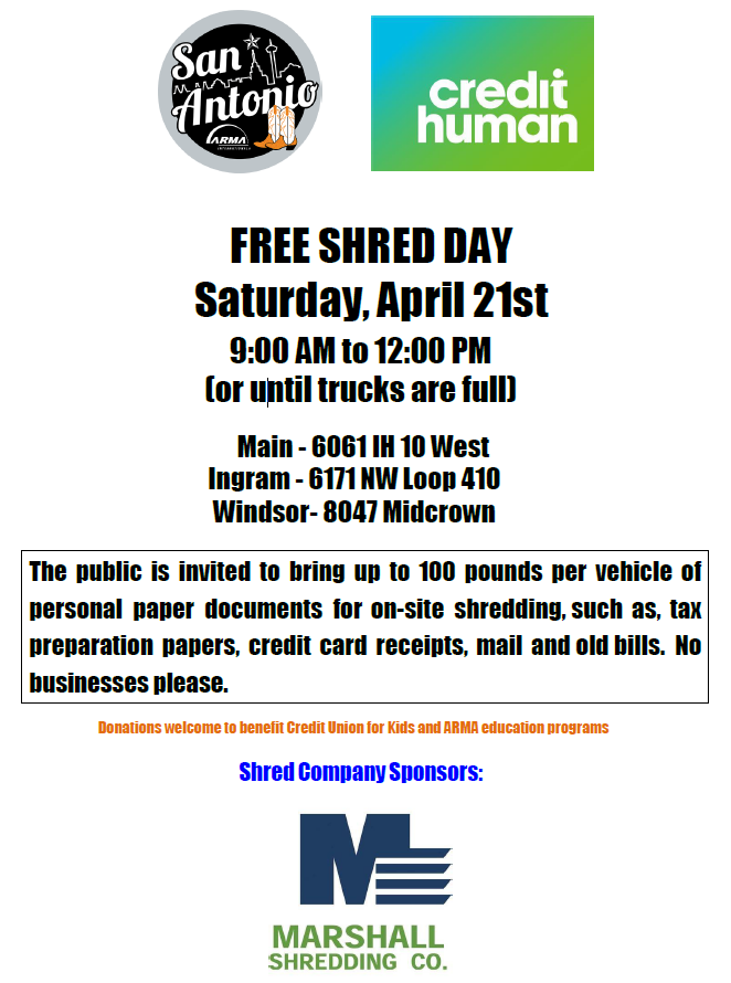 ARMA International San Antonio - 16th Annual Shred Day